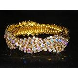 Flexible Gold W.AB Iridescent Rhinestone Bridal Bracelet Cuff Fashion Jewelry for Women Man