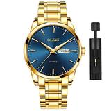 Gold Watch for Men,Mens Day Date Watches Blue Dial Classic Dress Watch Satinless Steel Waterproof Fashion Casual Luxury Wrist Watch OLEVS Quartz Men's Gold Watch Simple WristWatches,relojes de Hombre