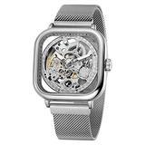 Mens Automatic Fashion Square Skeleton Wrist Watch Slim Mesh Steel Magnet Strap Band Analog Wristwatch (Silver)