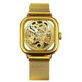 Mens Automatic Fashion Square Skeleton Wrist Watch Slim Mesh Steel Magnet Strap Band Analog Wristwatch (Gold)