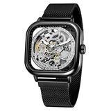 Mens Automatic Fashion Square Skeleton Wrist Watch Slim Mesh Steel Magnet Strap Band Analog Wristwatch (Black Silver)