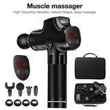 total-shop Upgrade Professional Handheld Fascia Massager Gun, Cordless Deep Tissue Percussion Massager Gun, LCD Touch Screen Muscle Massager with 20-Speed, 4 Massage Heads & Portable Bag
