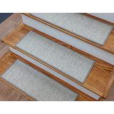 """Rug Depot Casual Basketweave Wool Stair Treads - Light Grey Background - Set of 7 Non Slip Carpet Treads 26"""" x 9"""" - Applied with Non Slip Tabs - 100% Wool Custom Made Stair Treads - 839120"""