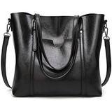 TCHH-DayUp Women Large Durable Retro Tote Bags Handbags Purses Top Handle Satchel Handbags Purses Faux Leather Shoulder Bags Zipper Vintage Purses Black