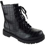 Soda Grunge S Womens Side Zipper Platform Combat Boots Black Crocodile 8