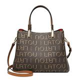 LAORENTOU PVC Signature Handbags for Women, Checkered Purses for Women Faux Leather Satchel Shoulder Bags Pocketbooks Chain Tote Bags with Top Handle (Brown)