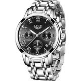 LIGE Mens Watches Fashion Steel Waterproof Analog Quartz Watch Men Business Dress Wristwatch Casual Sport Calendar Date Watch Men