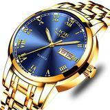 LIGE Men's Watch Waterproof Analog Quartz Watch Gold Blue Stainless Steel Mesh Band Wristwatch Fashion Business Dress Watch Elegant Luxury Watches for Man