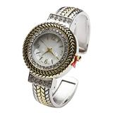 Blekon Collection Women's Crystal Bezel 32mm Round Face Mother of Pearl Dial Bangle Cuff Watch (Two-Tone)