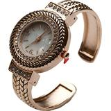Blekon Collection Women's Crystal Bezel 32mm Round Face Mother of Pearl Dial Bangle Cuff Watch (Rose-Gold)
