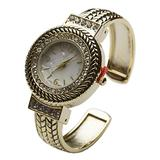 Blekon Collection Women's Crystal Bezel 32mm Round Face Mother of Pearl Dial Bangle Cuff Watch (Gold)