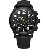 Jean Richard Bressel Classic Mens Stainless Steel Swiss Automatic Watch - 43mm Black Face Luminous Hands Chronograph and Date - Black Rubber Strap Swiss Made Classic Anolog Watch 32112-13-128-AC6