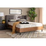 Baxton Studio Catarina Mid-Century Modern Grey Fabric Walnut Finished Wood Full Size Wingback Platform Bed - BBT6809-Grey/Walnut-Full