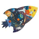 """Mudpuppy Outer Space Shaped Scene Puzzle, 300 Pieces, 23""""x16"""" – Ages 7+ - Features a Colorful Scene of Planets, Satellites, Stars and More – Finished Puzzle in The Shape of a Spaceship"""