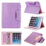 UUcovers iPad 9.7 Case 2018 2017(iPad 6th/5th Gen, Smart Folio Case for Apple iPad Air 1/Air 2/iPad Pro 9.7 2016, Stand PU Leather Cover with Document Card Pencil Pocket [Auto Wake/Sleep], Purple