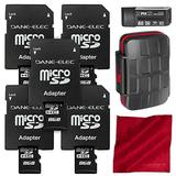 Dane Elec 8GB Micro SD Card/Class 4 Speed (5-Pack) + Xpix 24X Memory Card Case, Xpix Professional Card Reader/Writer & Fibertique Microfiber Cleaning Cloth