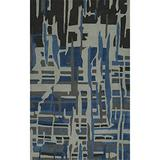 """Addison Zenith Artistic Abstract Gray/Blue Wool-Blend Area Rug (3'6""""X5'6"""")"""