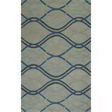 Addison Zenith Grey/Blue Wool-Blend Modern Hourglass Area Rug (8' x 10')
