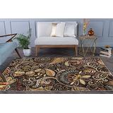 Giselle Brown 9x12 Rectangle Area Rug for Living, Bedroom, or Dining Room Carpet - Modern Rugs Abstract