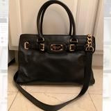 Michael Kors Bags | Michael Kors Black Purse With Crossbody Chain | Color: Black/Gold | Size: Os