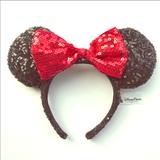 Disney Costumes   Euc Disney Parks Minnie Mouse Ears Red Sequin Bow   Color: Black/Red   Size: Osg