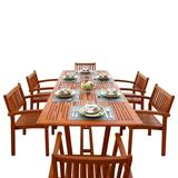 Malibu Outdoor 7-PC Wood Patio Dining Set w/ Extension Table & Stacking Chairs - Vifah V232SET5