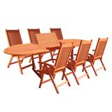 Malibu Outdoor 7-PC Wood Patio Dining Set w/ Extension Table & Reclining Folding Chairs - Vifah V144SET1