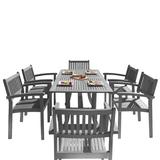 Renaissance Outdoor Patio Hand-scraped Wood 7-PC Dining Set w/ Stacking Chairs - Vifah V1300SET12