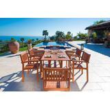 Malibu Outdoor 7-PC Wood Patio Dining Set w/ Stacking Chairs - Vifah V187SET4