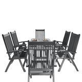 Renaissance Outdoor Patio Hand-scraped Wood 7-PC Dining Set w/ Reclining Chairs - Vifah V1300SET11