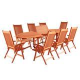 Malibu Outdoor 9-PC Wood Patio Dining Set w/ Extension Table & Reclining Folding Chairs - Vifah V144SET2