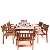 Malibu Outdoor 7-PC Wood Patio Dining Set w/ Stacking Chairs - Vifah V98SET10