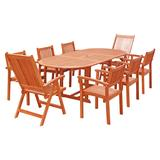 Malibu Outdoor 9-PC Wood Patio Dining Set w/ Extension Table, Stacking Chairs & Reclining Chairs - Vifah V144SET31