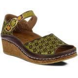 Delphia Wedge Sandal - Green - Spring Step Heels
