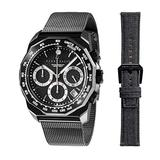 Perry Ellis Decagon GT Chronograph Watch with Stainless Steel Mesh Band Replacement Fabric Strap Black Dial #09003-04_LS113
