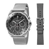 Perry Ellis Decagon GT Chronograph Quartz Watch with Stainless Steel Mesh Band and Replacement Fabric Strap Gunmetal Dial for Men #09001-04_LS106