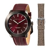 Perry Ellis Slim Line Quartz Watch with Genuine Leather and Replacement Wool Fabric Strap Burgundy Dial for Men and Women #03007-01_LS103
