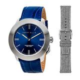 Perry Ellis Slim Line Quartz Watch with Genuine Leather and Replacement Wool Fabric Strap Blue Dial for Men #03001-01_LS102
