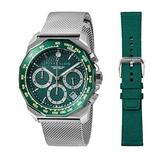 Perry Ellis Decagon GT Quartz Watch with Stainless Steel Mesh Band and Replacement Fabric Strap Emerald Pattern Dial for Men #09014-04_LS110