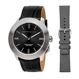 Perry Ellis Slim Line Quartz Watch with Genuine Leather and Replacement Fabric Strap Black Dial for Men and Women #03002-01_LS106