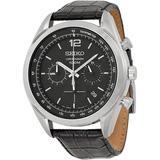 Chronograph Black Dial Watch - Metallic - Seiko Watches