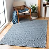 """Safavieh Augustine Collection AGT401M Geometric Area Rug, 6'4"""" x 6'4"""" Square, Navy / Light Grey"""