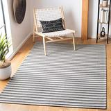 "Safavieh Augustine Collection AGT419H Stripe Area Rug, 6'4"" x 6'4"" Square, Black / Light Grey"