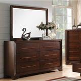 Charlton Home® Kostya 6 Drawer Double dresser w/ Mirror Wood in Brown/Red, Size 77.0 H x 64.0 W x 19.0 D in | Wayfair BR15-07-1826-1829