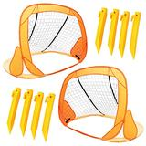 Boley Small Soccer Goal Set - 2 Pack 31 in Portable Pop Up Mini Soccer Net for Backyard Sports Games, Exercise, and Play - Outdoor Soccer Training Equipment for Kids and Youth Sports