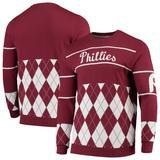"""Men's Burgundy Philadelphia Phillies Retro Stripe Pullover Sweater"""