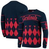 """Men's Navy St. Louis Cardinals Retro Stripe Pullover Sweater"""
