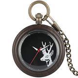 Dark Brown Ebony Pocket Watch for Men Elk Pattern Pocket Watches for Husband, Vintage Bronze Rough Chain Pendant Watch for Women Men Xams Gift