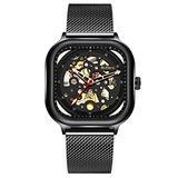 Mens Automatic Fashion Square Skeleton Wrist Watch Slim Mesh Steel Magnet Strap Band Analog Wristwatch (Black)
