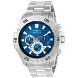 INVICTA Pro Diver Men's Quartz Watch with Blue Dial Chronograph Display and Silver Stainless Steel Bracelet - 22787
